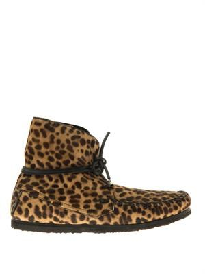 Flavie calf-hair moccasin ankle boots