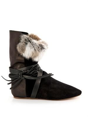Nia suede, leather and fur boots