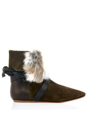 Nia suede,leather and fur boots