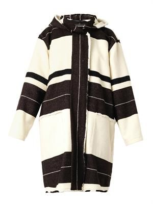 Adil striped blanket coat
