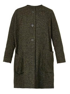 Ega soft-tweed collarless coat