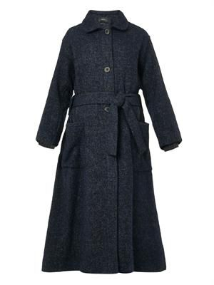 Evana soft-tweed full-length coat