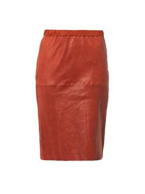 Devon leather pencil skirt