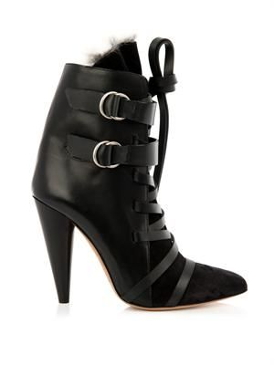 Rob leather and fur ankle boots