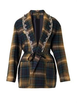 Milroy embellished-lapels checked jacket