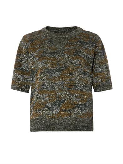 Isabel Marant Watson camouflage Lurex knit top