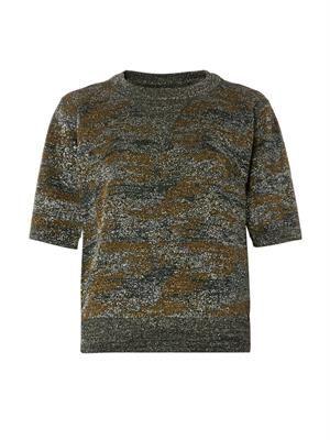 Watson camouflage Lurex knit top