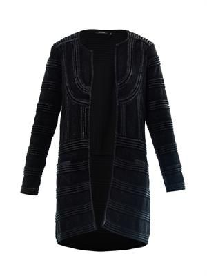 Kaydee lacquered long cardigan