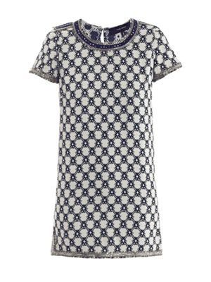 Mallonia embellished jacquard dress
