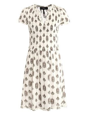 Bliss eyelet detail smocked dress