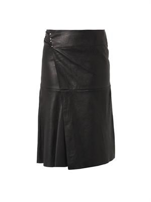 Belia wrap-front leather skirt