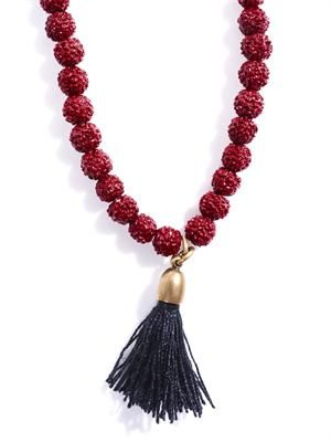 Textured beaded tassel necklace
