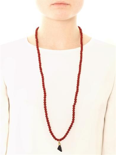 Isabel Marant Textured beaded tassel necklace