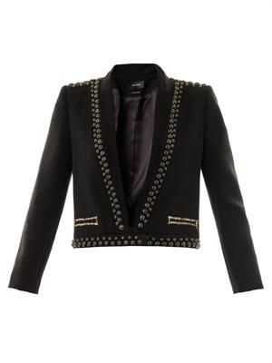 Jewel studded wool jacket