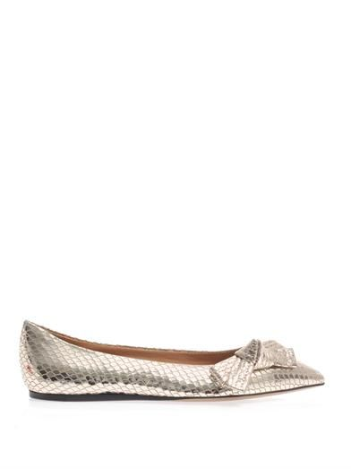 Isabel Marant Metallic leather point-toe flats