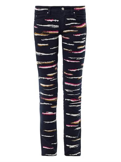 Isabel Marant Orson zebra-embroidered mid-rise skinny jeans
