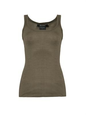 Ribbed silk-jersey tank top