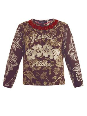 Minsy Hawaiian embroidered top