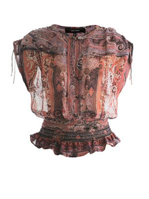 Paisley-print gathered waist blouse