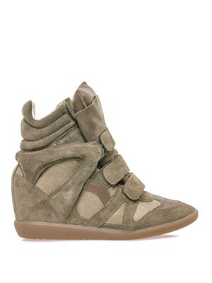 Bekett suede and leather wedge trainers