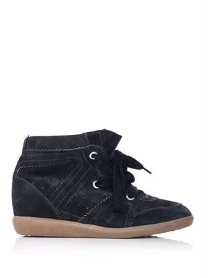 Bobby suede hidden wedge trainers