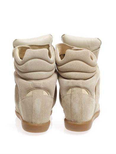 Isabel Marant Bekett suede and leather wedge trainers