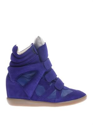 Burt suede and leather wedge trainers