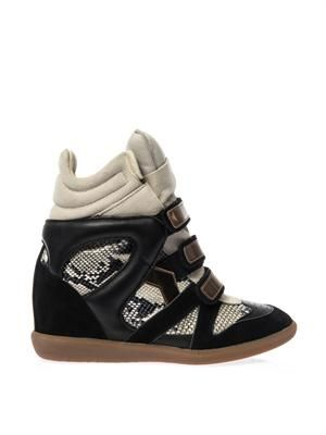 Bonny suede and leather wedge trainers