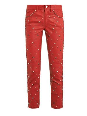 Duncan embellished leather trousers