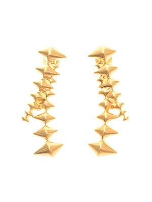 Zip-edge gold-plated earrings