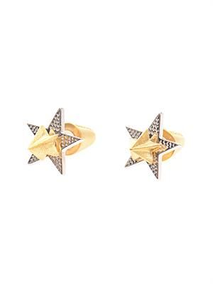 2 Piece star stud gold-plated earrings