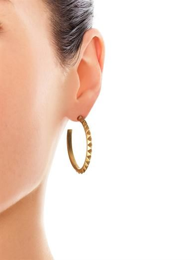 Eddie Borgo Pyramid gold-plated hoop earrings