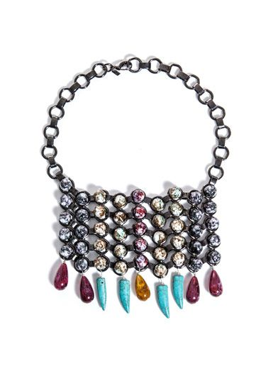 Dannijo Halsey beaded bib necklace