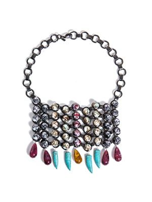 Halsey beaded bib necklace