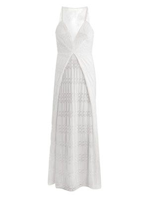 Macramé knit sheer-back dress