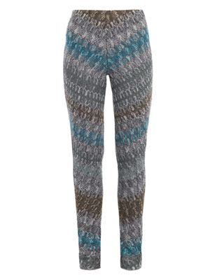 Chevron zigzag-knit trousers