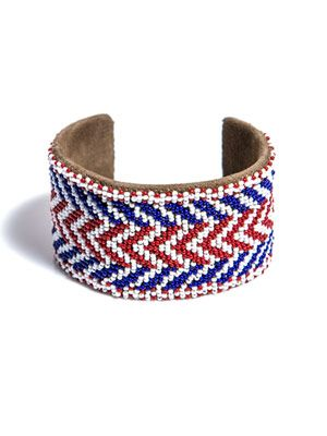 Beaded chevron cuff bracelet