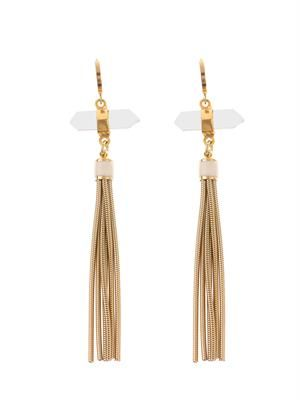 Santa quartz-crystal fringed earrings
