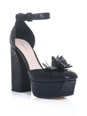 Embossed leather platform shoes
