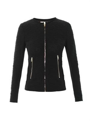 Amiya mesh-panel knitted jacket
