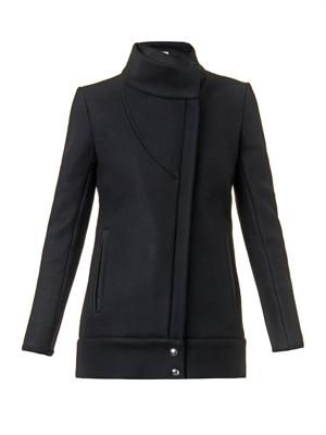 Funnel-neck zip-front jacket