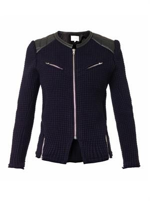 Ceylona leather trimmed waffle-knit jacket
