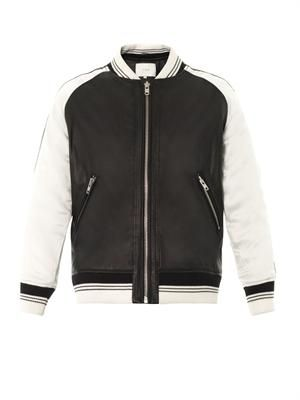 Falia leather and satin bomber jacket
