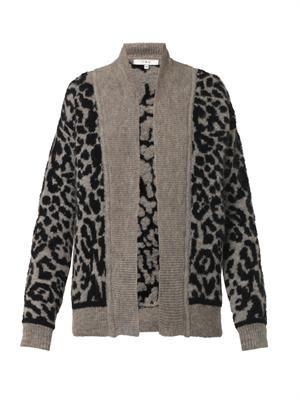 Leopard intarsia-knit cardigan