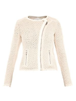 Miali leather-trim mesh-knit jacket