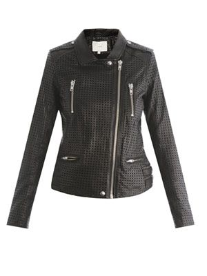 Perforated leather biker jacket