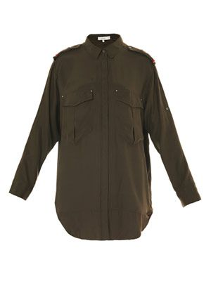 Nastia military silk blouse