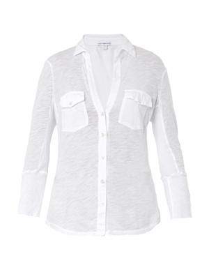 Contrast-panel cotton-jersey shirt