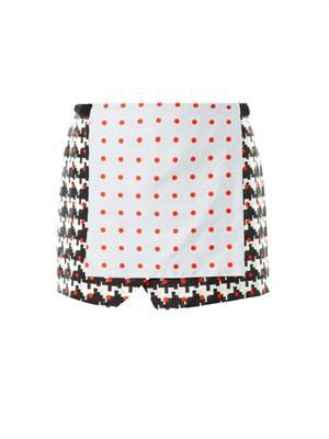 Printed wrap-front skirt