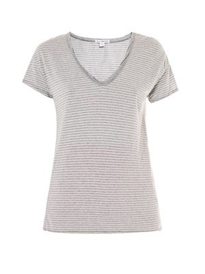 V-neck stripe T-shirt